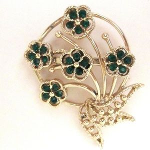 Vtg Floral Pin Green Rhinestones St Patricks Day